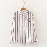 Ladies Elegant Shirt Harajuku Style Puppy Embroidered Cotton Blouse Casual Women Stripe Long Sleeve Tops and Blouses