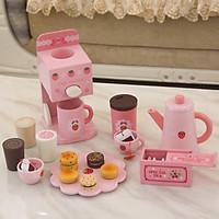 Bộ máy pha cafe kèm trà bánh bằng gỗ cho bé