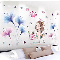 Decal dán tường Hoa xanh tím và cô gái - HP394