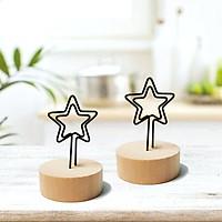 2 kẹp trang trí hình ngôi sao đế gỗ