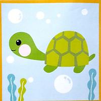 Tranh sơn dầu số hóa cho bé tự tô có khung - 20x20cm nhiều mẫu SD4 - Rùa xanh 036