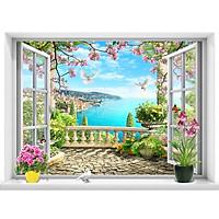 Tranh dán tường cửa sổ cảnh biển đẹp trang trí phòng khách và phòng ngủ - VT0437