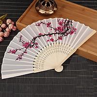 Quạt xếp, quạt vải cầm tay họa tiết hoa anh đào 21*38 cm+ Tặng kèm hình dán-Quạt xếp cầm tay nhỏ gọn phong cách