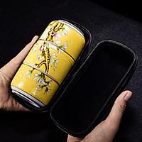 Bộ bình trà xách tay tiện lợi khi đi du lịch nhiều màu sắc và họa tiết đẹp mắt kèm túi xách tay đơn giản kiểu Nhật