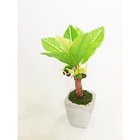 Chậu hoa đất sét mini - Cây dừa / cọ dừa sung túc - Quà tặng trang trí handmade