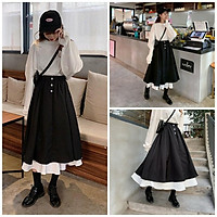 Chân váy dài đen trắng, chân váy nữ phối 2 màu cạp cao ulzzang Hàn Quốc CV11