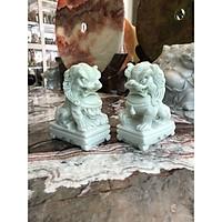 Cặp Kỳ Lân phong thủy đá cẩm thạch trắng xanh - Cao 15 cm