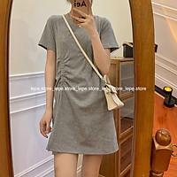 Váy Đầm suông dáng ngắn Cộc Tay cổ tròn Basic thắt chun dáng chữ A polo (Ảnh thật)