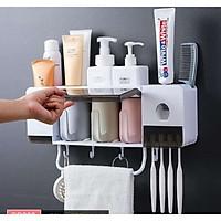 kệ để đồ trong phòng tắm tích hợp nhả kem đánh răng có 3 cốc