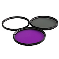 3 Pieces UV / CPL / FLD 62mm Professional Glass Filter Kit Camera