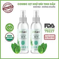 Combo 2 chai Xịt Phòng Tinh Dầu Bạc Hà Hữu Cơ Organic 24Care 100ML/Chai - Kháng khuẩn - Khử mùi hôi - Đuổi muỗi, côn trùng - Tập trung tinh thần