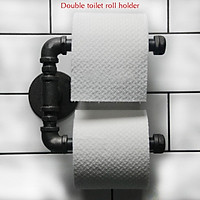 Industrial Steampunk Rustic Look Iron Pipe Double Toilet Roll Holder With Screws