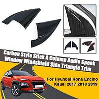 Carbon Fibre Stick A Column Audio Speak Window Windshield Side Triangle Trim For Hyundai Kona Encino Kauai 2017 2018