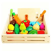 Đồ Chơi Gỗ - Khay cắt trái cây, rau củ nam châm - cho bé học hỏi thêm nhiều kỹ năng và kiến thức xã hội