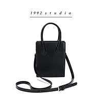 Túi xách nữ 1992 s t u d i o/ KAREN BAG/ màu đen quai xách da vân nổi sành điệu có dây đeo chéo