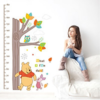 Decal tranh dán tường thước đo chiều cao Gấu Pooh vui vẻ AmyShop DTD009 (70 x 135 cm)