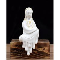 Tượng Phật Bà gốm trắng sà chân kèm đế gỗ