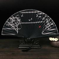 Quạt cổ trang trúc đen đón gió chuồn chuồn phong cách Trung Quốc quà tặng xinh xắn tặng ảnh Vcone