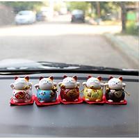 Bộ combo 05 mèo thần tài Maneki Mako - Ngũ Phúc Lâm Môn bằng sứ trang trí xe, kệ tủ mang may mắn tài lộc tới cho bạn