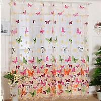 2pcs Butterflies Pattern Window  Curtain Screen Washable Drapes 180cm*210cm