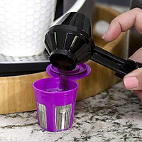 2-in-1 Coffee Scoop and Funnel for Single-Serve Easy Use No Mess Black