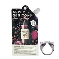 Sữa rửa mặt thải độc rau củ Wonder Bath Super Vegitoks Cleanser Dạng Gói 30ml (MàuTím) + Tặng Kèm 1 Băng Đô Tai Mèo (màu ngẫu nhiên)