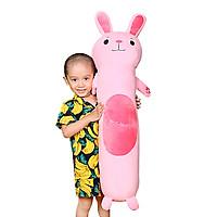 Gấu bông ôm dài thỏ hồng vải nhung 1m1