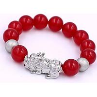 Vòng tay Tỳ hưu inox trắng - Chuỗi đá mã não đỏ 14 ly VMNOTHHBT14 - Chuỗi tay Size lớn