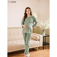 Bộ bầu sau sinh (B06) chất cotton áo có cúc tháo rời tiện lợi cho bé tuti, quần có chun điều chỉnh - thiết kế bởi LAMME