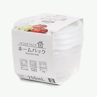 Bộ 3 hộp đựng thực phẩm bằng nhựa PP cao cấp loại 250mL - Hàng nội địa Nhật