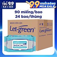 Thùng 24 Bao Khăn Ướt Cồn Let-green 90 Miếng/Gói (90 Tờ x 24)