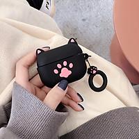 Hộp bảo vệ Airpods Pro case tai mèo đen kèm móc treo