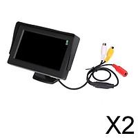 "2xLCD HD 4.3 ""Night Vision Car Reversing Rearview Camera Monitor"