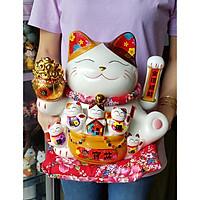 Mèo Thần Tài tay vẫy 25cm may mắn MIXU011 (tặng kèm 50 xu vàng mini)
