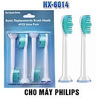 Cho máy Philips Sonicare, Bộ 4 đầu bàn chải đánh răng điện HX-6014, dòng máy HX3, HX6, HX7, HX8, HX9, R, FlexCare +, FlexCare, HealthyWhite, HydroClean, EasyClean, DiamondClean-Phá tan mảng bám, cho răng sáng bóng