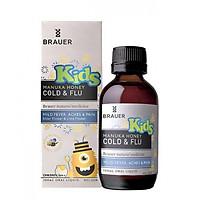 Siro hỗ trợ trị cảm cúm chiết xuất mật ong Brauer cho bé trên 2 tuổi - Brauer Kids Manuka Honey Cold Flu 100ml