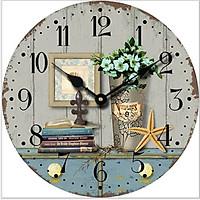 Đồng hồ treo tường Vintage Phong cách Châu Âu hình tròn DH13 Hình sao biển