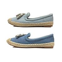Giày Thái Lan nữ Slip On đế viền cói thời trang siêu êm chân đính nơ chuông De'shoes, chất liệu vải Jeans đẹp mềm mịn DS0107