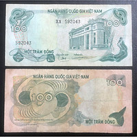 Tờ 100 đồng trong bộ tiền Hoa Văn Việt Nam sưu tầm