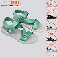 Giày sandal unisex nam nữ quai chéo vải dù đế mõng Slim có quai hậu cố định hiệu MOL mang đi học du lịch MS1166XD
