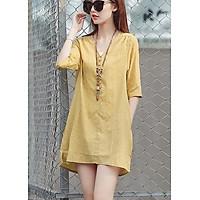 Đầm suông tay lỡ xẻ tà phong cách Hàn Quốc - DS37 - Vàng - M