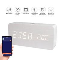 Đồng hồ vẫn gỗ hiển thị đèn LED thông minh có thể điều khiển qua ứng dụng tích hợp hiển thị nhiệt độ
