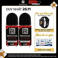 Combo 2 Lăn khử mùi Romano kháng khuẩn & khô thoáng cả ngày 50mlx2 Attitude