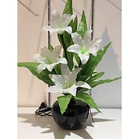 Bình hoa đèn led sợi quang đổi màu - bình hoa trang trí - bình hoa ly trắng cắm điện 220V - BH065P