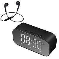 Loa Bluetooth Mini Cao Cấp S5 Hỗ Trợ USB Kiêm Đồng Hồ Báo Thức Và Gương Soi Tiện Lợi + Tặng Tai Nghe Nhét Tai