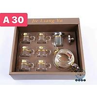 (SẴN) Set 1 bình trà 1 L + 6 cốc 100ml - Bình trà thủy tinh chịu nhiệt cao cấp hàng xuất Âu