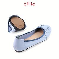 Giày búp bê nữ mũi tròn phối khóa da thật Cillie 1211