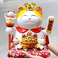 Mèo Thần tài Vương miện Vẫy tay 27cm Mã 4211 - Xe Tài lộc