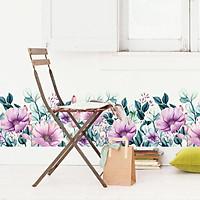 Decal dán chân tường hoa tím khoe sắc dịu mát