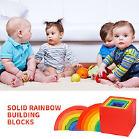 Baby Toys Large Rainbow Stacker Wooden Toys For Kids Creative Building Blocks
